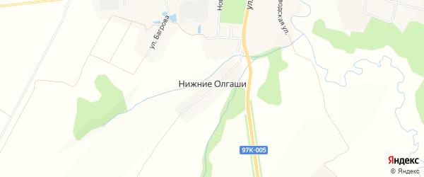 Карта деревни Нижние Олгаши в Чувашии с улицами и номерами домов