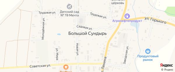 Улица Горького на карте села Большого Сундыря с номерами домов