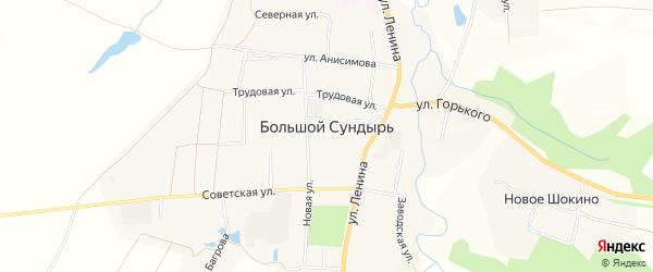 Карта села Большого Сундыря в Чувашии с улицами и номерами домов