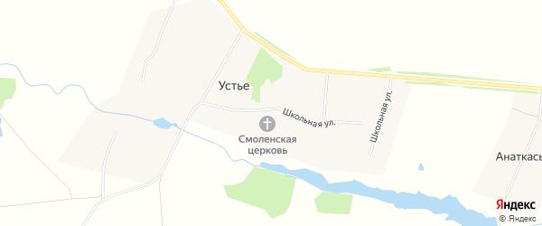 Карта села Устья в Чувашии с улицами и номерами домов