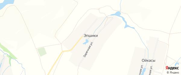 Карта деревни Эпшики в Чувашии с улицами и номерами домов