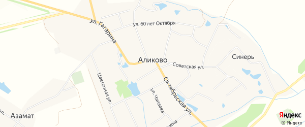 Карта села Аликово в Чувашии с улицами и номерами домов
