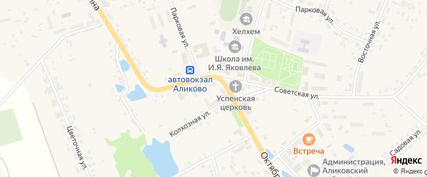 Улица П.Иванова на карте села Аликово с номерами домов
