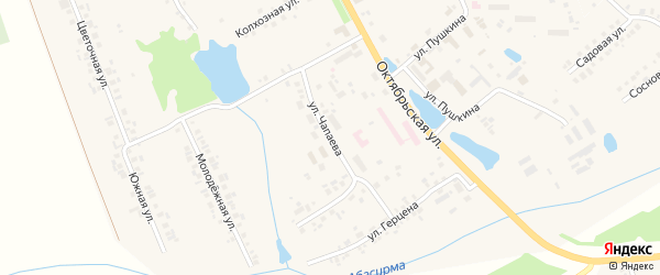 Улица Чапаева на карте села Аликово с номерами домов
