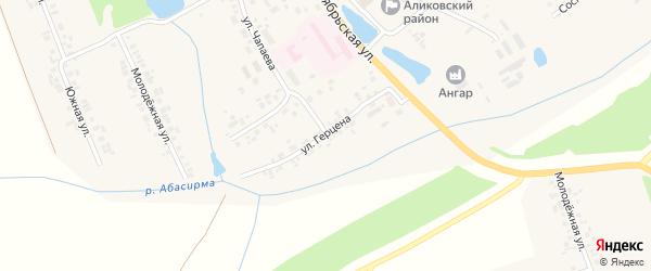 Улица Герцена на карте села Аликово с номерами домов