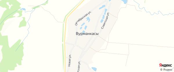 Карта деревни Вурманкасы (Орининское с/п) в Чувашии с улицами и номерами домов