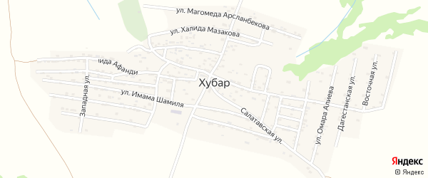 Улица Имама Гамзатбека на карте села Хубара с номерами домов
