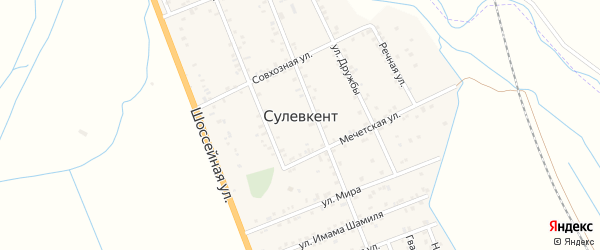 Шоссейная улица на карте села Сулевкента с номерами домов
