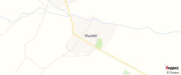 Карта деревни Ишлея в Чувашии с улицами и номерами домов