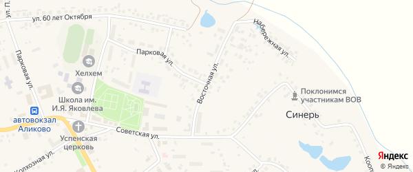 Восточная улица на карте села Аликово с номерами домов