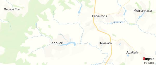 Карта Орининского сельского поселения республики Чувашия с районами, улицами и номерами домов
