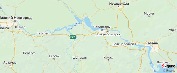 Карта Моргаушского района республики Чувашия с населенными пунктами и городами