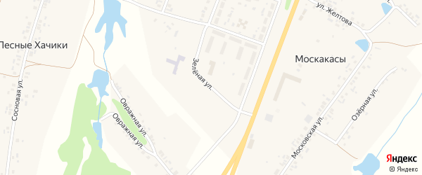 Зеленая улица на карте деревни Москакасы с номерами домов
