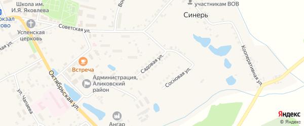 Садовая улица на карте села Аликово с номерами домов