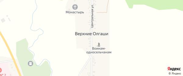 Центральная улица на карте деревни Верхние Олгаши с номерами домов