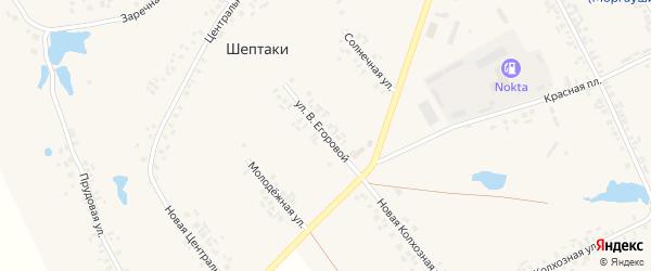 Улица В.Егоровой на карте деревни Шептаки (Моргаушское с/п) с номерами домов