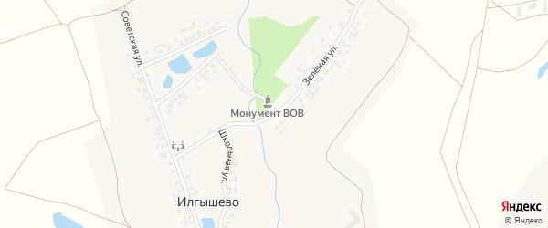 Зеленая улица на карте деревни Илгышево с номерами домов