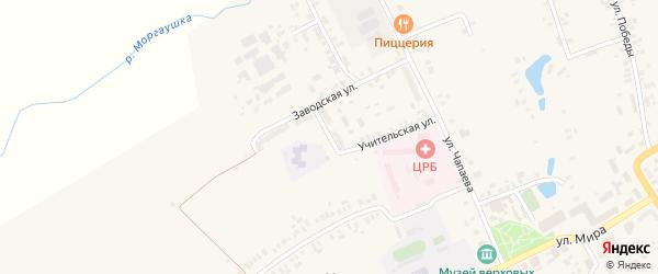 Коммунальная улица на карте села Моргаушей с номерами домов