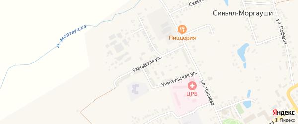 Заводская улица на карте села Моргаушей с номерами домов