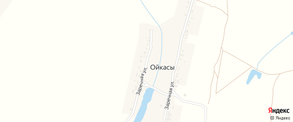 Заречная улица на карте деревни Ойкас с номерами домов