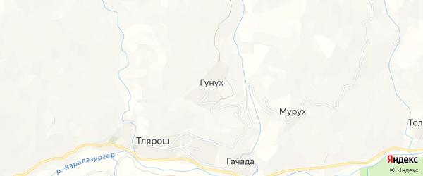 Карта села Гунуха в Дагестане с улицами и номерами домов