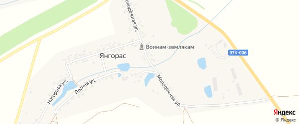 Молодежная улица на карте деревни Янгораса с номерами домов