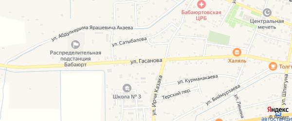 Улица Гасанова на карте села Бабаюрта с номерами домов