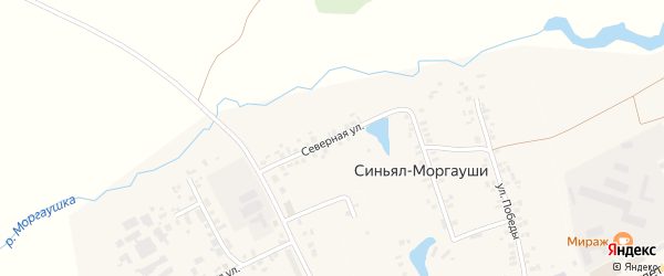 Северная улица на карте деревни Синьяла-Моргауши с номерами домов
