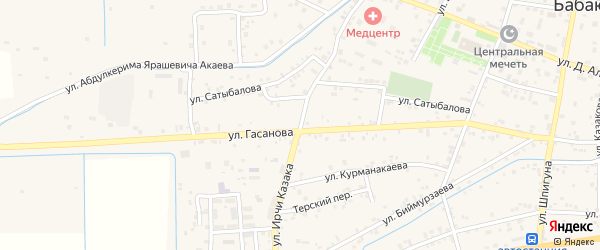 Улица Ирчи Казака на карте села Бабаюрта с номерами домов