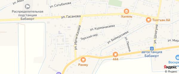 Терский переулок на карте села Бабаюрта с номерами домов