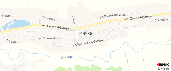 1-й тупик на карте села Инчха с номерами домов