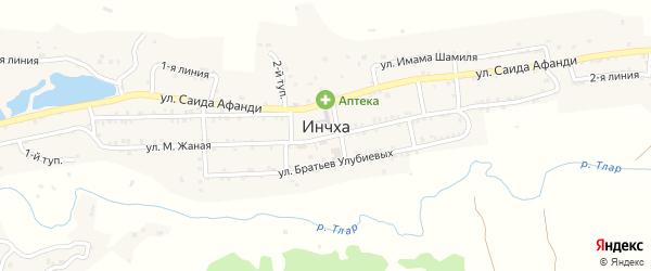 1-я линия на карте села Инчха с номерами домов