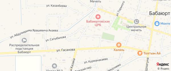 Улица Сатыбалова на карте села Бабаюрта с номерами домов