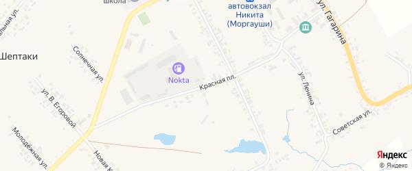 Улица Красная Площадь на карте села Моргаушей с номерами домов