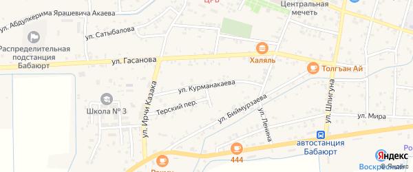 Красная улица на карте села Бабаюрта с номерами домов