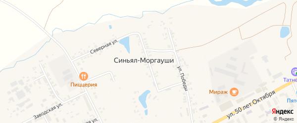 Зеленая улица на карте деревни Синьяла-Моргауши с номерами домов
