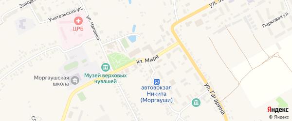 Улица Мира на карте села Моргаушей с номерами домов