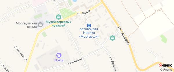 Красноармейская улица на карте села Моргаушей с номерами домов