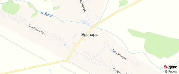 Озерная улица на карте деревни Эренары с номерами домов