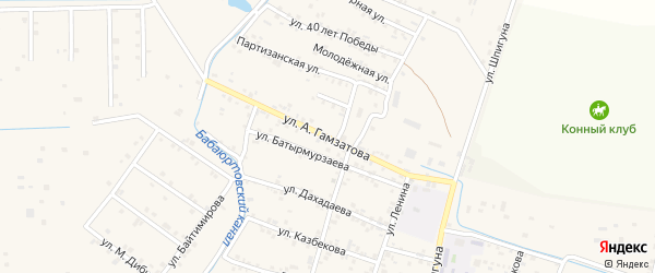Улица Гамзатова на карте села Бабаюрта с номерами домов