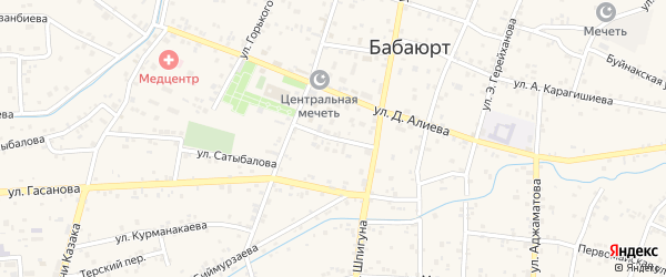 Инженерная улица на карте села Бабаюрта с номерами домов