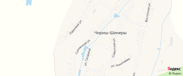 Солнечная улица на карте деревни Чириша-Шинеры с номерами домов