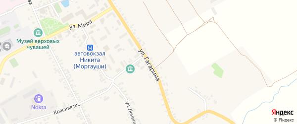 Улица Гагарина на карте села Моргаушей с номерами домов