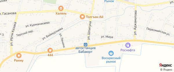 Улица Мира на карте села Бабаюрта с номерами домов