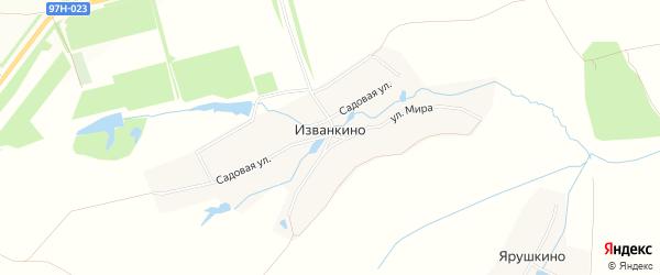 Карта деревни Изванкино в Чувашии с улицами и номерами домов