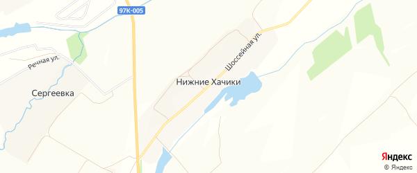 Карта деревни Нижние Хачики в Чувашии с улицами и номерами домов