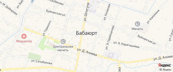Улица Сапаева на карте села Бабаюрта с номерами домов