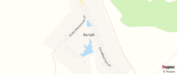 Комсомольская улица на карте деревни Актая с номерами домов