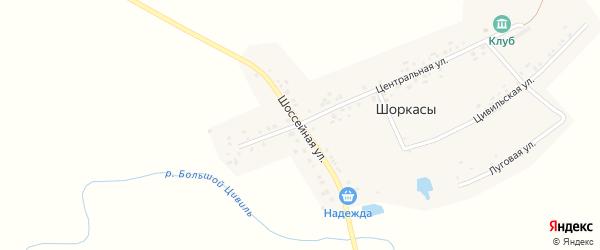 Шоссейная улица на карте деревни Шоркас с номерами домов