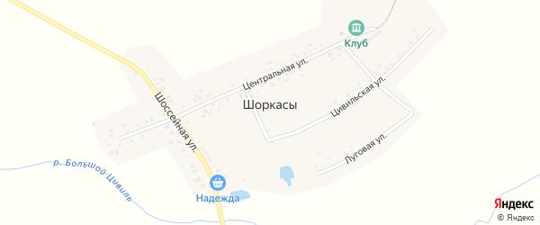 Луговая улица на карте деревни Шоркас с номерами домов